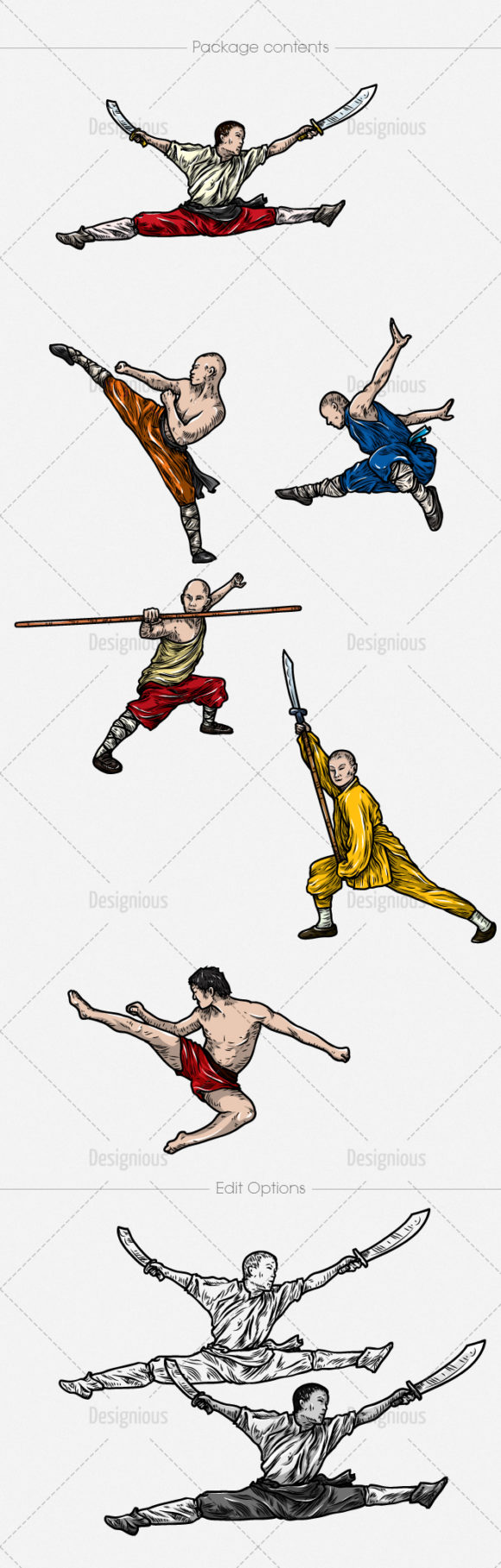 Kung Fu Vector Pack 1 Oriental Art [tag]