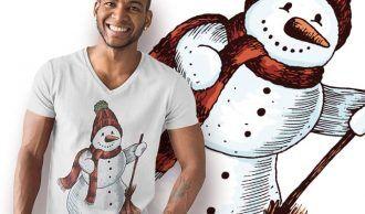 Free Snowman T-shirt Design Freebies vector