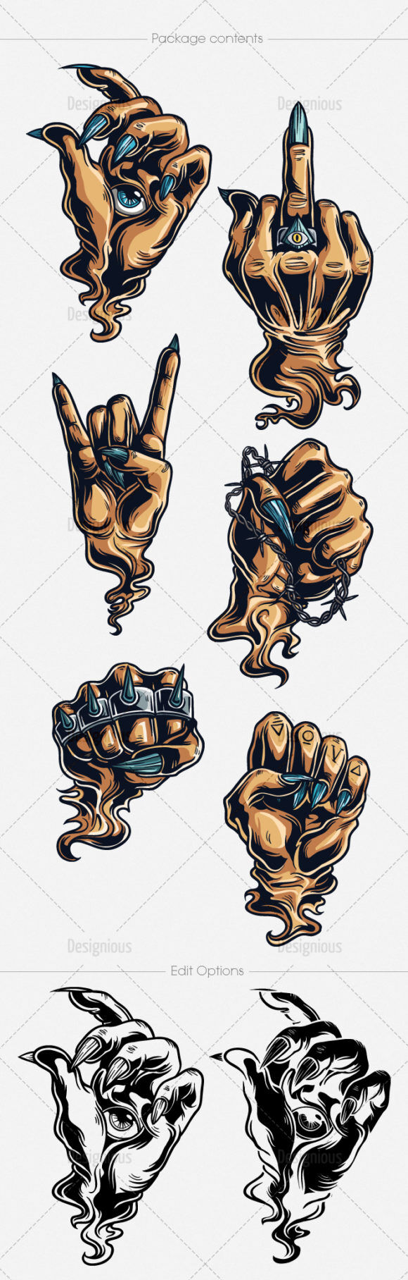 Hand Gestures Vector Pack 4 People [tag]