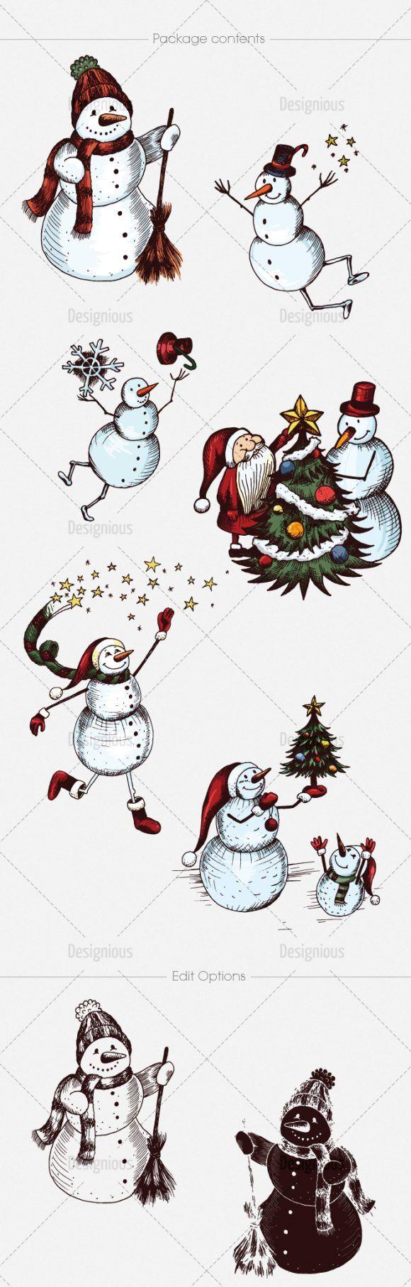 Snowmen Vector Pack 14 Holidays [tag]