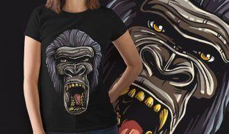 Free Gorilla T-shirt Design Freebies vector