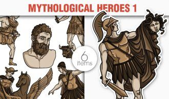 Greek Mythological Heros Vector Pack 1 Religion [tag]