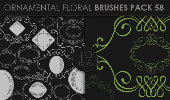 Ornamental Floral Brushes Pack 58 Floral brushes [tag]