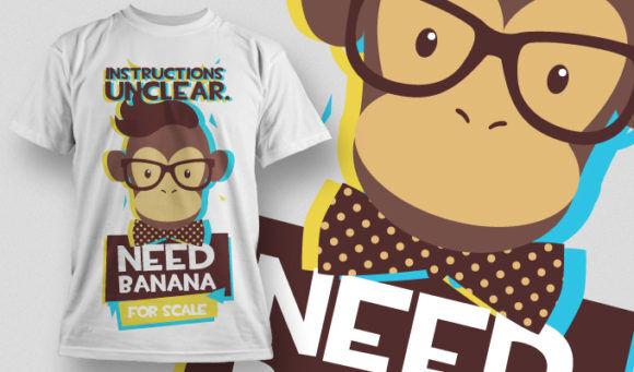 Free Monkey Needs Banana T-shirt Design 880 T-shirt Designs and Templates vector