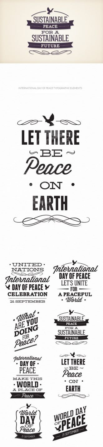 International day of peace typographic elements Typographic Templates peace