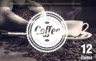 Coffee badges set 1 Typographic Templates coffee