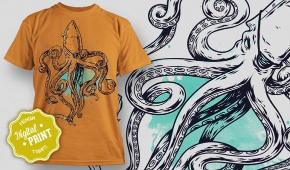 T-Shirt Design Plus – Squid T-shirt Designs and Templates vector