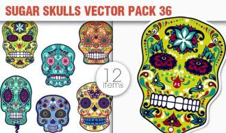 Sugar Skulls Vector Pack 36 Vector packs halloween