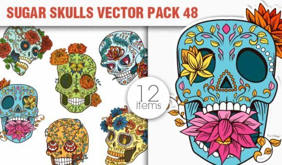 Sugar Skulls Vector Pack 48 Vector packs halloween