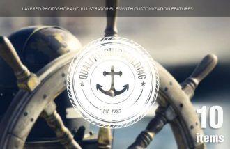 Nautical badges set 1 Typographic Templates sea