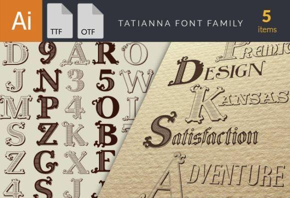 Tatianna Font Family Fonts vintage