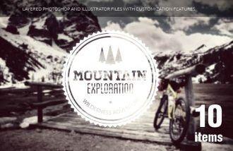 Travel elements set 1 Typographic Templates mountain