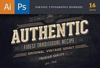 Vinatge Typography Banners Typographic Templates vintage