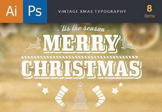 Vintage Xmas Typography Typographic Templates christmas