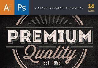 Vintage Typography Insignias Typographic Templates vintage
