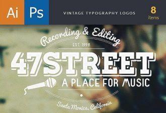 Vintage Typography Logos Set 1 Typographic Templates typography