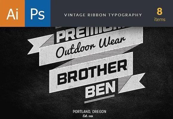 Vintage Ribbons Typography Typographic Templates typography