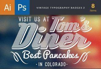 Vintage Typography Badges Set 2 Typographic Templates vintage