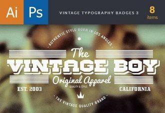 Vintage Typography Badges Set 3 Typographic Templates vintage