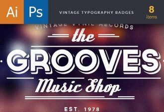 Vintage Typography Badges Set 1 Typographic Templates vintage
