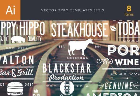 Vector Typography Templates Set 3 Typographic Templates wine