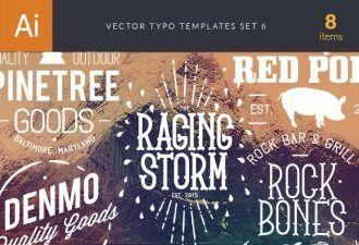 Vector Typography Templates Set 6 Typographic Templates typography