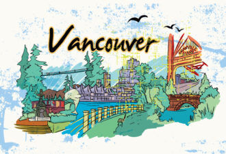 Vancouver Doodles With Grunge Vector Illustration Vector Illustrations tree