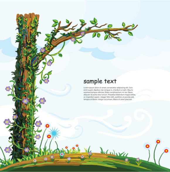 Cartoon Background Vector Illustration Vector Illustrations tree