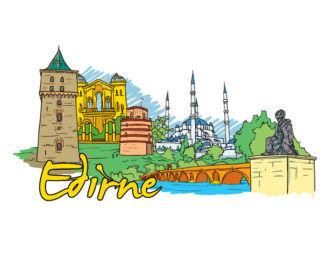 Edirne Doodles Vector Illustration Vector Illustrations tree