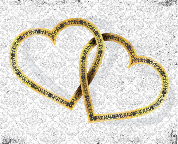 Vector Gold Hearts With Grunge Background Vector Illustrations old