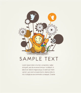 Vector Floral Background With Cute Kid Vector Illustrations floral