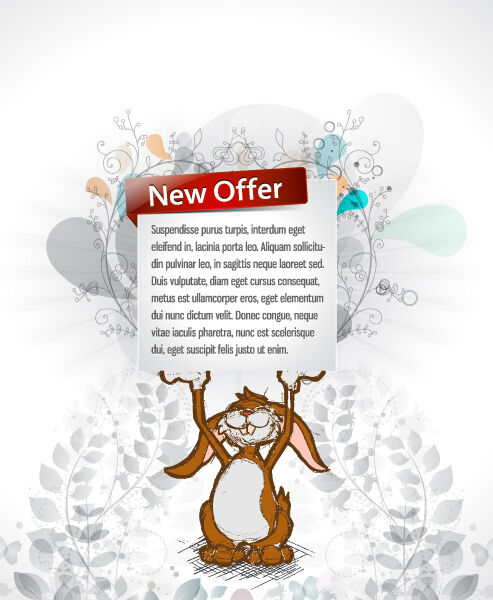 Bunny With Banner Vector Illustration Vector Illustrations floral