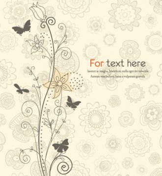 Vector Floral With Butterflies Vector Illustrations old