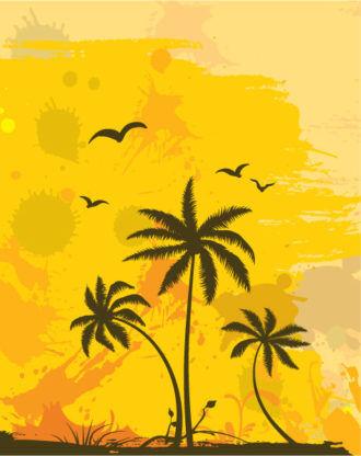 Grunge Summer Background Vector Illustration Vector Illustrations palm