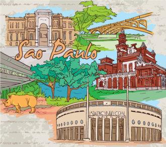 Sao Paulo Doodles Vector Illustration Vector Illustrations tree