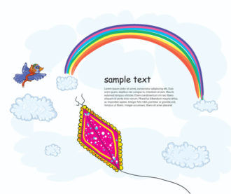 Cartoon Background With Kite Vector Illustration Vector Illustrations vector