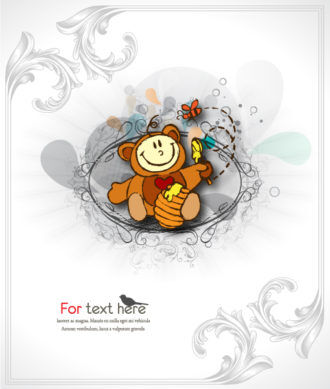 Vector Cute Kid With Floral Background Vector Illustrations old