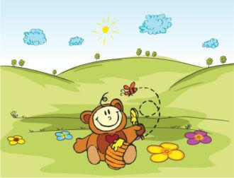 Kid In Bear Costume Vector Illustration Vector Illustrations tree