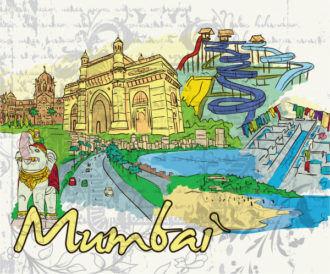 Mumbai Doodles Vector Illustration Vector Illustrations tree