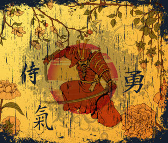 Vector Japanese Background With Samurai Vector Illustrations old