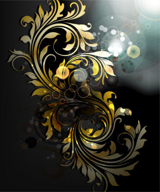 Vector Abstract Gold Floral Background Vector Illustrations old