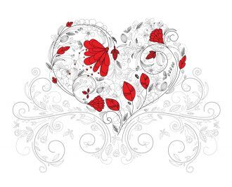Vector Heart Made Of Floral Vector Illustrations floral