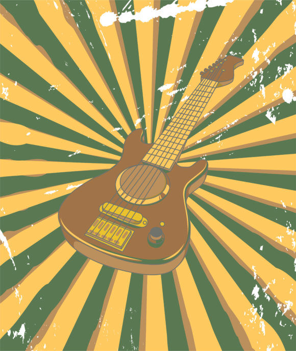 Vector Retro Concert Poster With Guitar Vector Illustrations old