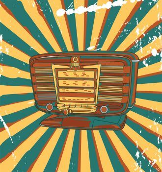Vector Retro Concert Poster With Old Radio Vector Illustrations old