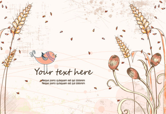 Vector Colorful Floral Background With Bird Vector Illustrations old