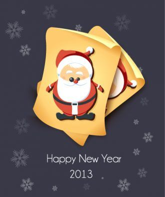 Christmas Vector Illustration With Old Paper And Santa Sticker Vector Illustrations vector