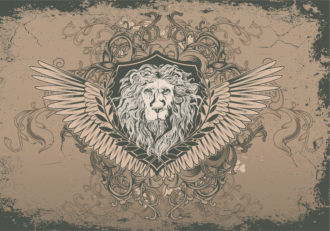 Vector Vintage Background With Lion Head Vector Illustrations old
