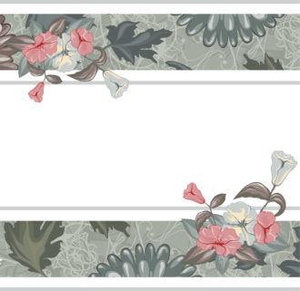 Grunge Background With Floral Vector Illustration Vector Illustrations old