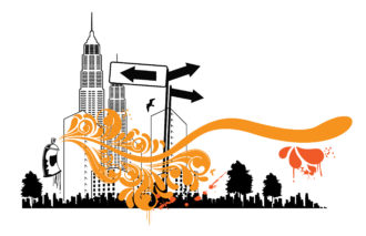 Urban Background With Spray Can Vector Illustration Vector Illustrations tree