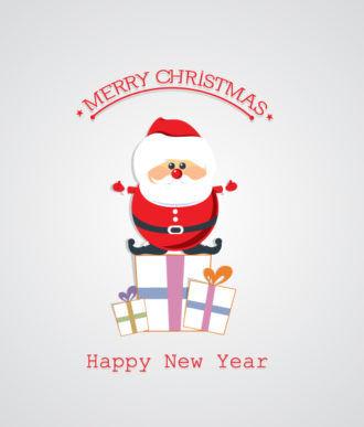 Christmas Vector Illustration With Santa Sticker Vector Illustrations vector